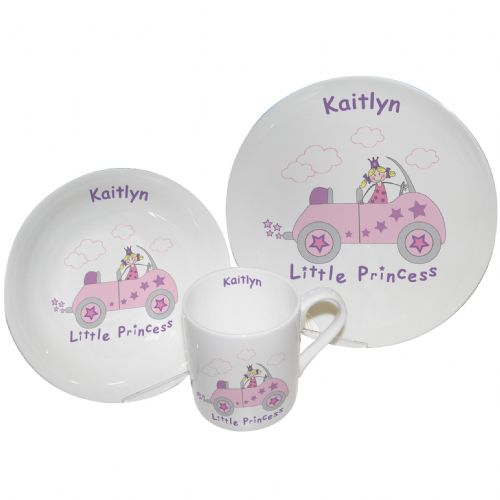 Personalised Little Princess in Car Breakfast Set